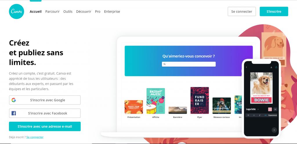 Page d'accueil du site Canva