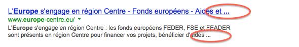 Exemple d'une recherche google avec le title tronqué