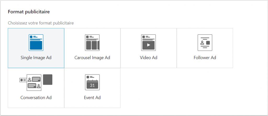 format linkedin ads